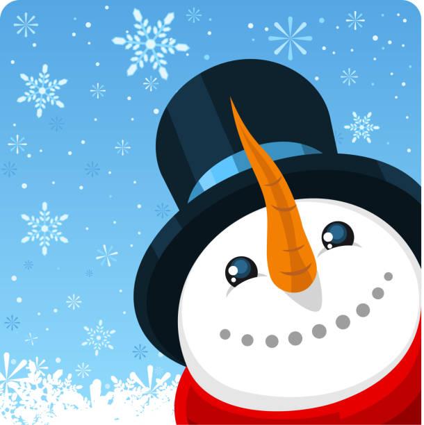 winter schnee weihnachten schneemann design mit schneeflocken - karotte peace stock-grafiken, -clipart, -cartoons und -symbole