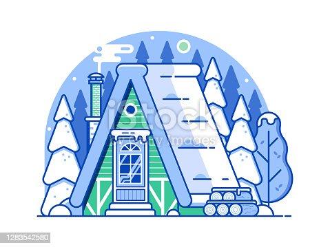 istock Winter Snow House Forest Scene in Line Art 1283542580