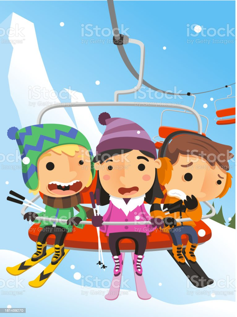 Winter Snow Kids on Ski Lift Steel Cable Cabin royalty-free winter snow kids on ski lift steel cable cabin stock vector art & more images of clothing