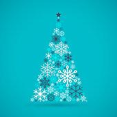 Holiday Tree Snowflake Background.