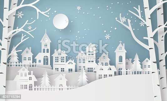 istock Winter Snow Urban Countryside Landscape City Village with ful lm 625715294
