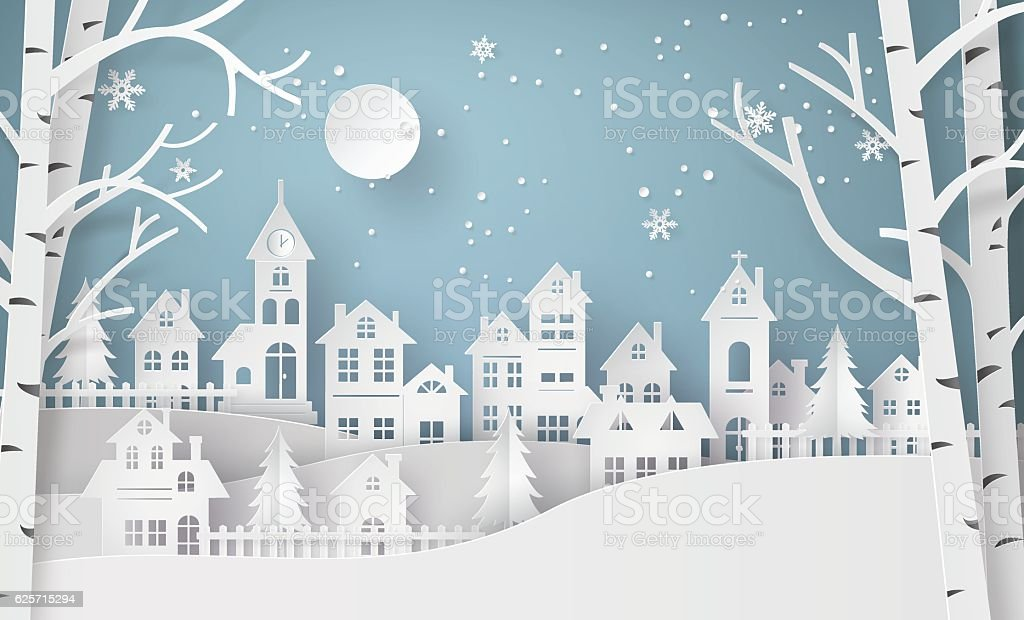 Winter Snow Urban Countryside Landscape City Village with ful lm vector art illustration
