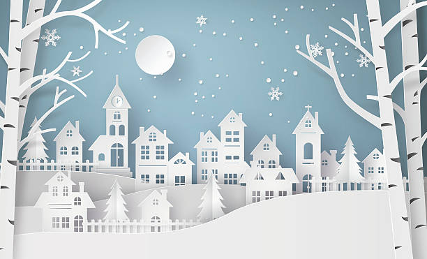 winter snow urban countryside landscape city village with ful lm - holiday stock illustrations, clip art, cartoons, & icons