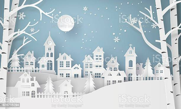 Winter Snow Urban Countryside Landscape City Village With Ful Lm Stock Illustration - Download Image Now