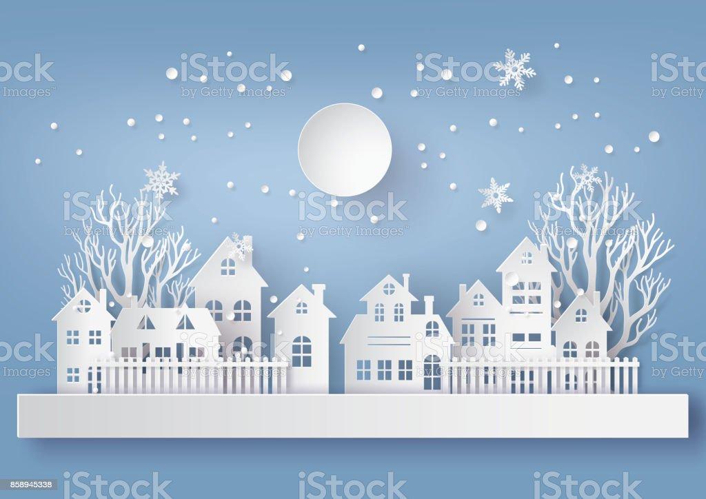 Winter Snow Urban Countryside Landscape City Village with ful lmoon - Grafika wektorowa royalty-free (Bez ludzi)