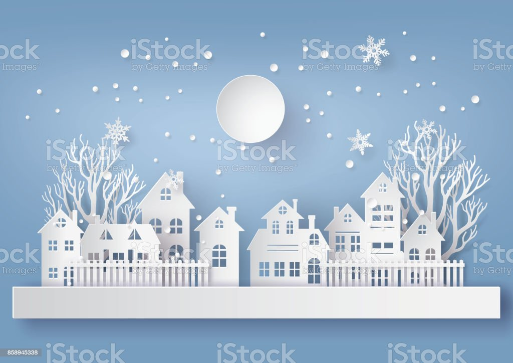 Winter Snow Urban Countryside Landscape City Village with ful lmoon vector art illustration