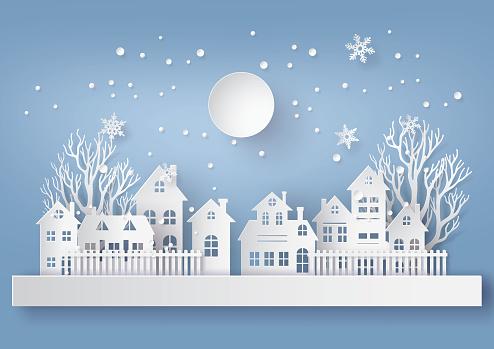 Winter Snow Urban Countryside Landscape City Village With Ful Lmoon - Stockowe grafiki wektorowe i więcej obrazów Bez ludzi