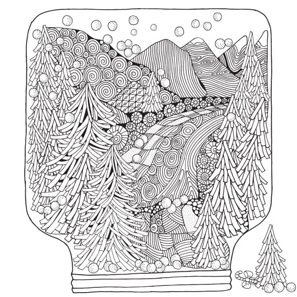 Winter Snowball. Adult Coloring book vector art illustration