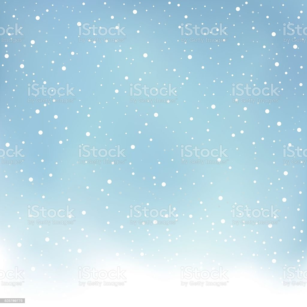 winter snowfall blue background vector art illustration