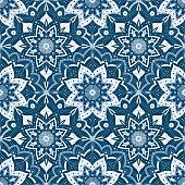 Winter snowflake blue pattern background. Lace mandala pattern vector seamless