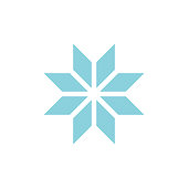 Winter snowflake romb icon on white back