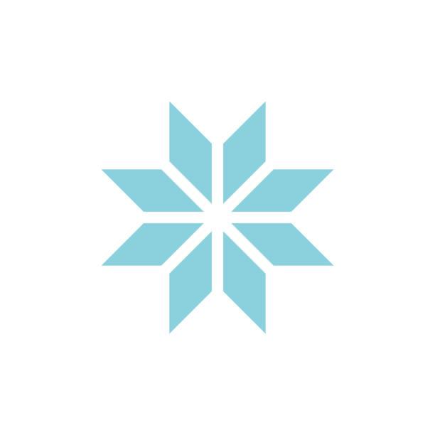 Winter snowflake romb icon vector art illustration