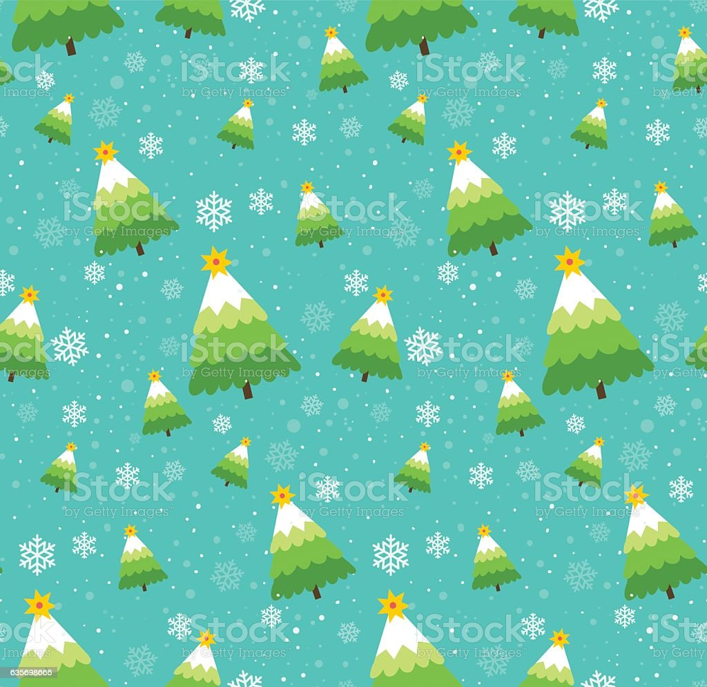 Winter snowflakes and christmas trees seamless vector pattern royalty-free winter snowflakes and christmas trees seamless vector pattern stock vector art & more images of abstract