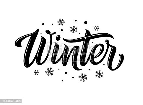 Winter. Snowflakes and snow with winter text, word and lettering. Winter concept, logo template and sign. Horizontal format. Vector illustration for print and web. EPS10.