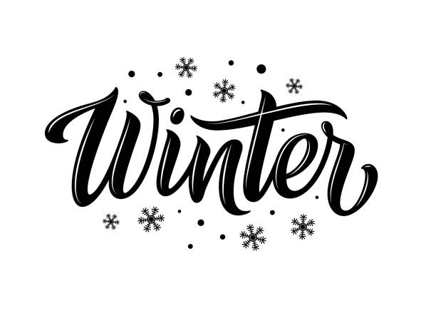 Winter. Snowflakes and snow with winter text, word and lettering. Winter concept, logo template and sign. Horizontal format. Vector illustration for print and web. EPS10. Winter. Snowflakes and snow with winter text, word and lettering. Winter concept, logo template and sign. Horizontal format. Vector illustration for print and web. EPS10. single word stock illustrations