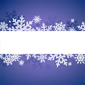 Winter Snowflakes Design. Vector white snowflakes on the blue background.
