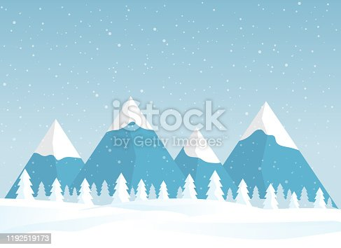 istock Winter snowy landscape card design. Mountains with pine tree forest. Vector 1192519173