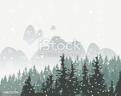 Winter snowy landscape with snowfall and tops of centuries-old fir trees on the background of snow covered mountains. Vector backdrop for winter illustration