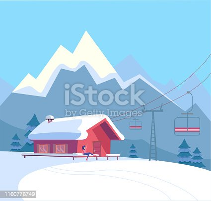 Winter snowy landscape with ski resort, lift, cable car, red house, snow-covered roof, untouched nature and winter mountains landscape. Flat cartoon style vector illustration.