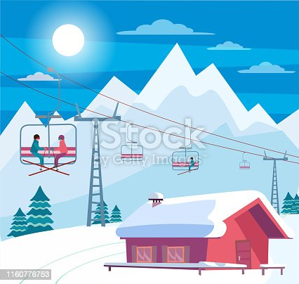 Winter snowy landscape with ski resort, lift, cable car, red house with snow-covered roof, Alps, fir trees, nature and winter mountains landscape. Sunny weather. Flat cartoon style vector illustration
