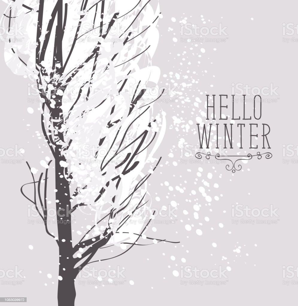 winter snowy landscape with snow covered tree - illustrazione arte vettoriale