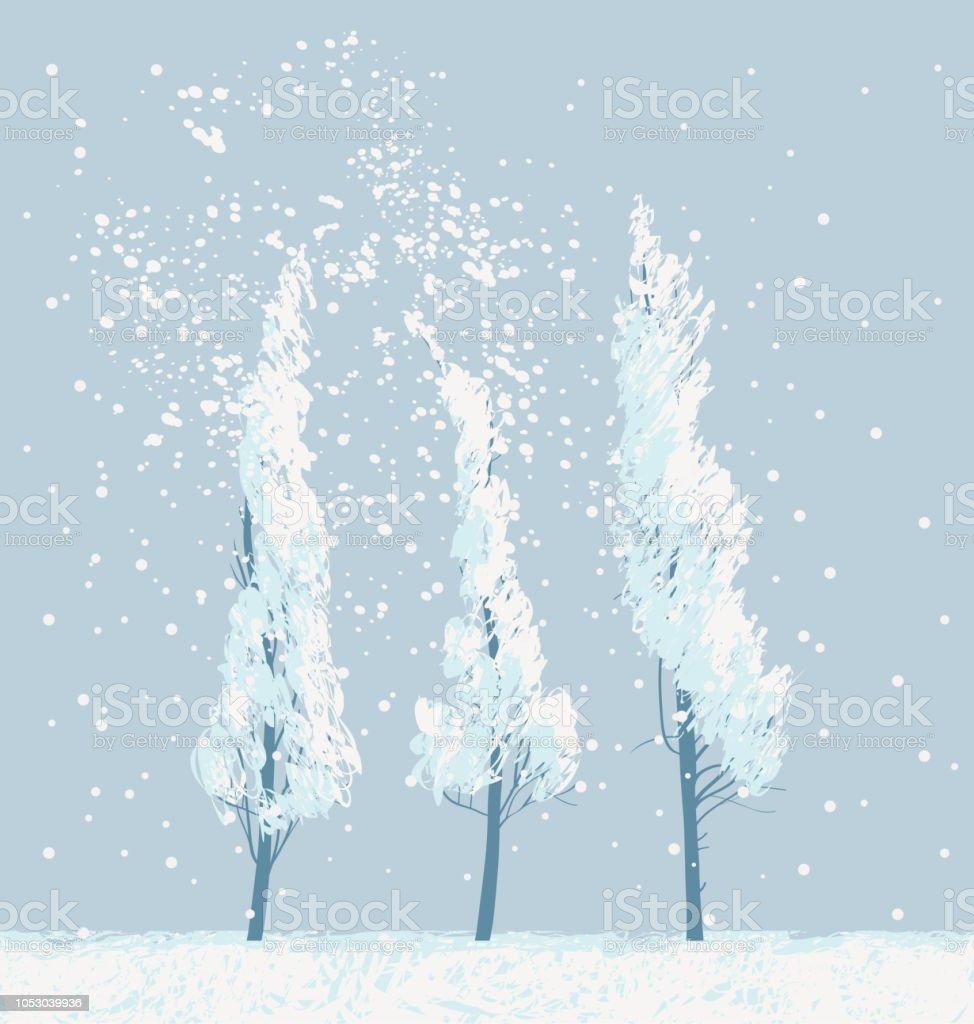 winter snowy landscape with snow covered trees - illustrazione arte vettoriale
