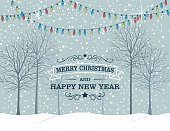 Winter Snowy Landscape With Trees.  Cute pastel colored park with bar winter trees and stings of holiday lights. There is text at the bottom saying Merry Christmas and Happy New Year.