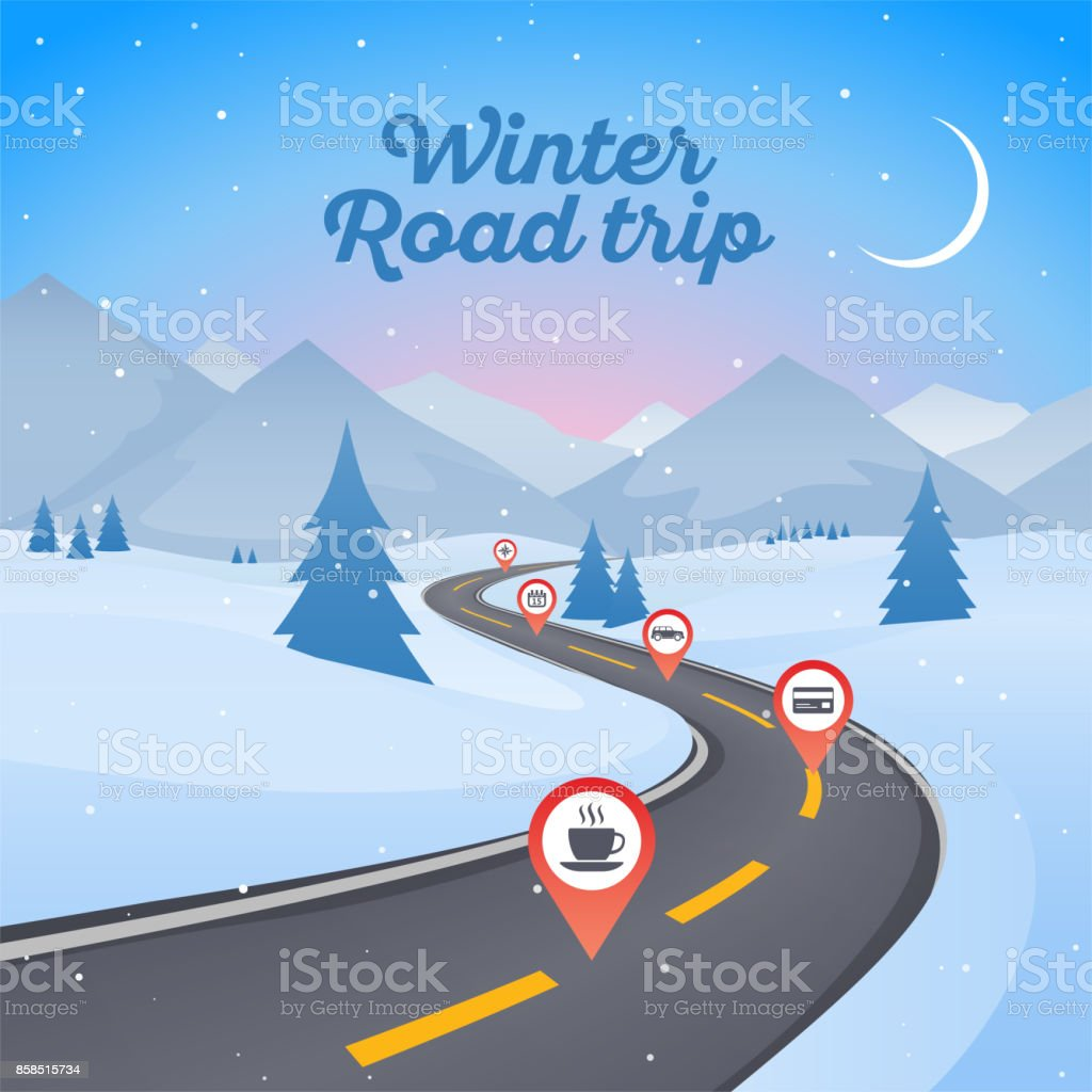 Winter snowy landscape with winding road pathway. New Year...