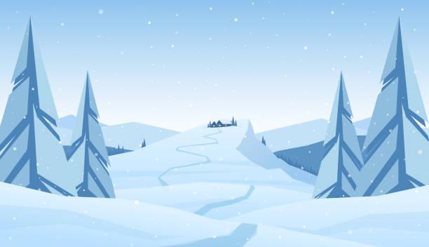 stockillustraties, clipart, cartoons en iconen met winter landschap van besneeuwde bergen kerst met pad naar cartoon huis - christmas cabin