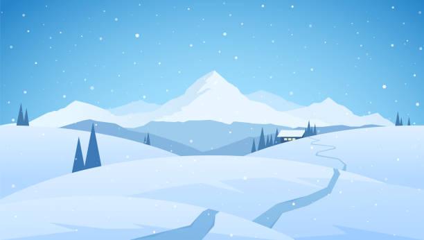stockillustraties, clipart, cartoons en iconen met winter besneeuwde bergen vlakke landschap met pad naar cartoon huis. kerstmis achtergrond - christmas cabin