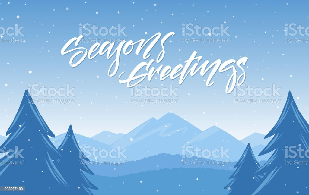 Winter snowy mountains landscape with hand lettering of seasons winter snowy mountains landscape with hand lettering of seasons greetings happy holidays royalty free m4hsunfo