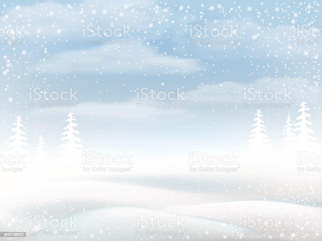 Winter snowy rural landscape vector art illustration
