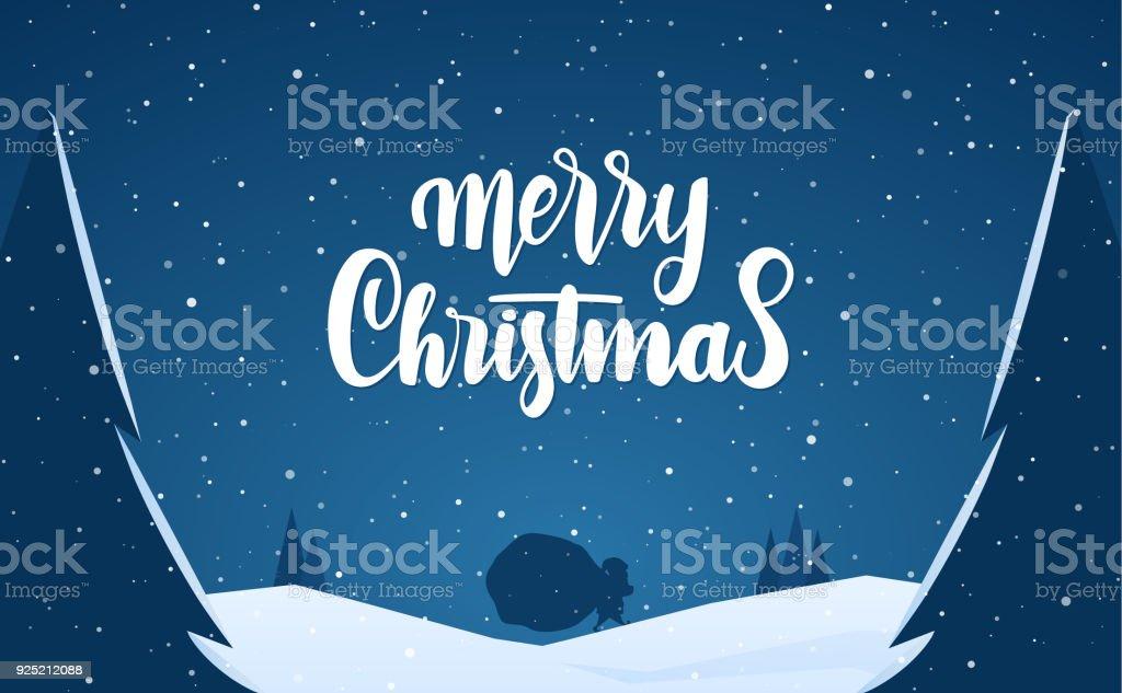 Winter Schnee Szene Mit Santa Claus Und Hand Schriftzug Frohe ...