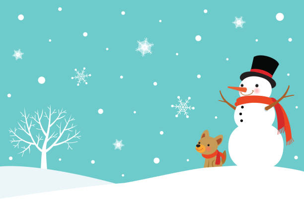 Winter snowy scene with snowman and cute dog winter,season,holiday,Christmas,snowman,snowflake,dog,landscape,tree snowman stock illustrations
