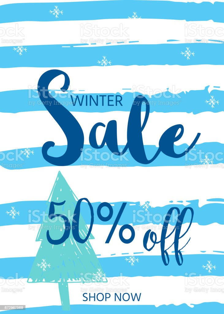 Winter Sale Banners Red White Blue Banners