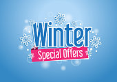 Winter Special Offers Word or Text with Snow Flakes in Beautiful Blue Background