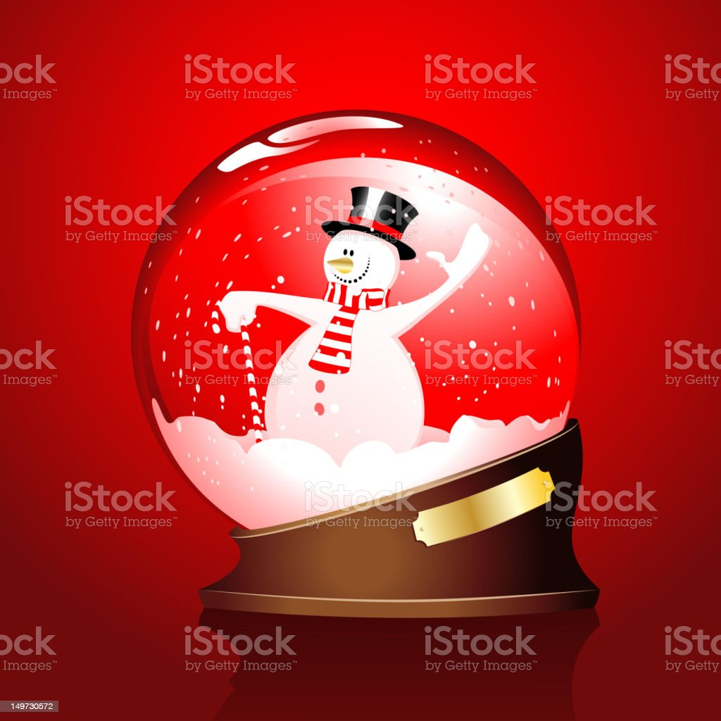 winter sphere with a snowman royalty-free stock vector art