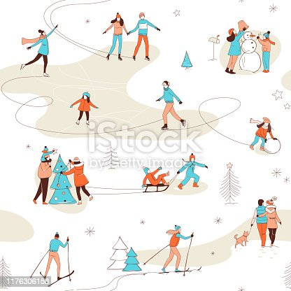 Decorative women men kids children winter activities seamless pattern background. Winter sport Christmas decorating skiing ice skating fun. Hand line drawing doodle colored vector illustration poster