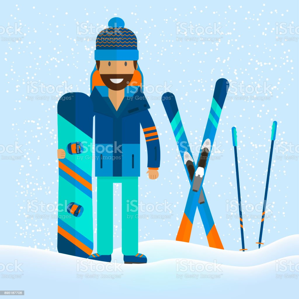 Winter sport background with character and skiing, snowboarding set...