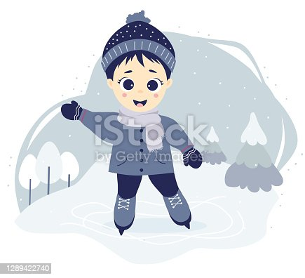 Winter sport. Boy ice skating on a skating rink on a decorative forest background with winter landscape, trees and snow. Vector illustration. Childrens collection for design, covers, cards and print.