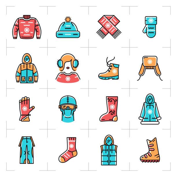 illustrazioni stock, clip art, cartoni animati e icone di tendenza di abbigliamento sportivo invernale, icone della linea di abbigliamento sportivo. abbigliamento per la ricreazione invernale, lo snowboard, lo sci e il pattinaggio su ghiaccio. stile artistico di linea sottile minimale, vector - negozio sci