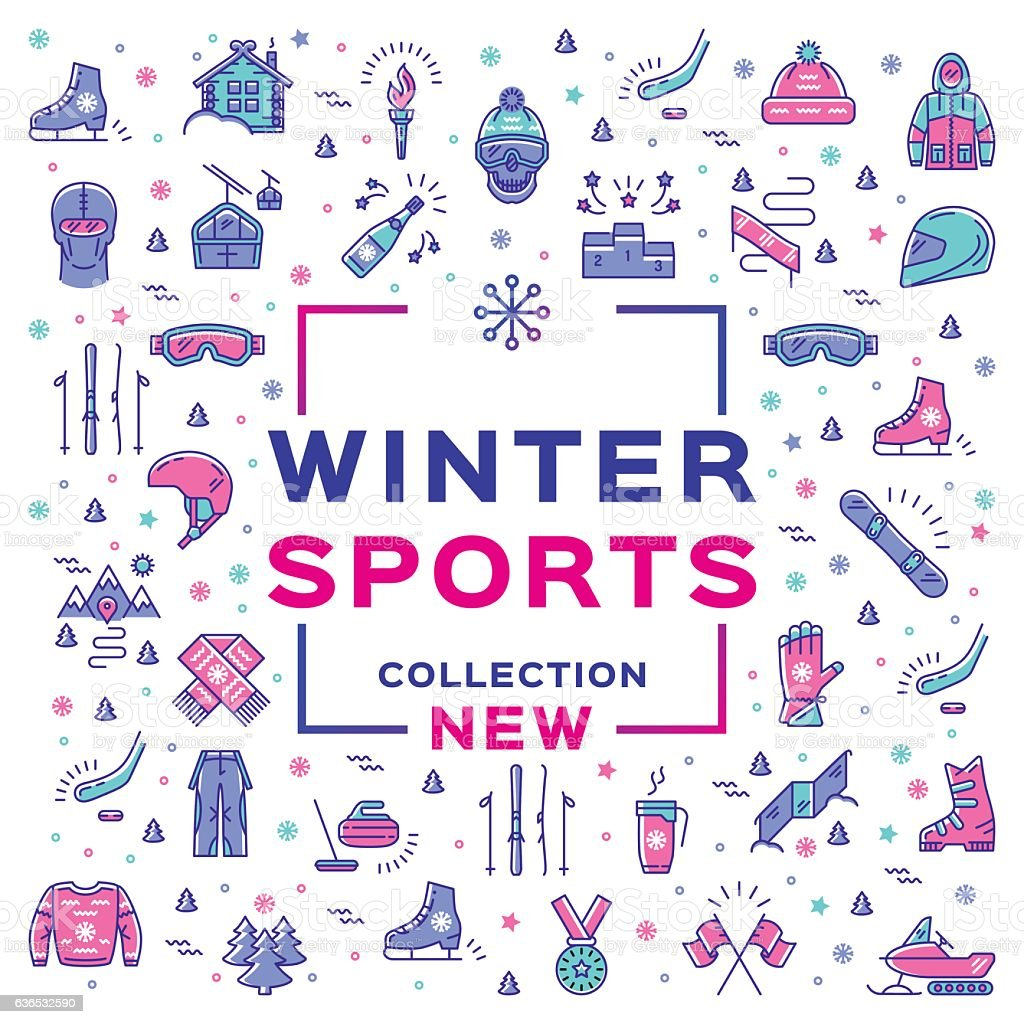 Winter sport collection, collage. Branding sports equipment and sportswear - Illustration vectorielle