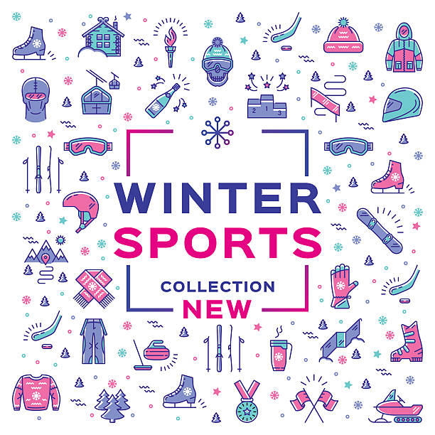 illustrazioni stock, clip art, cartoni animati e icone di tendenza di winter sport collection, collage. branding sports equipment and sportswear - negozio sci