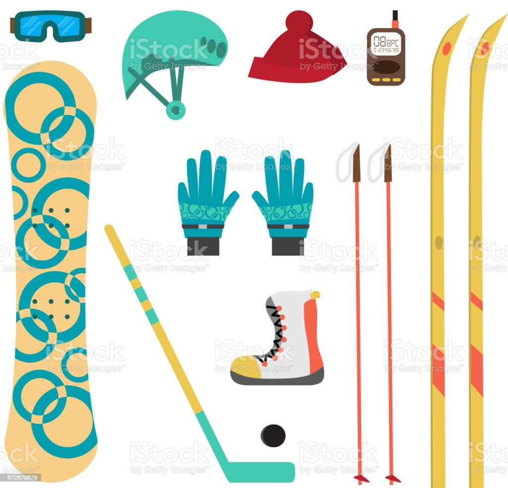 Winter sport different accessories vector art illustration
