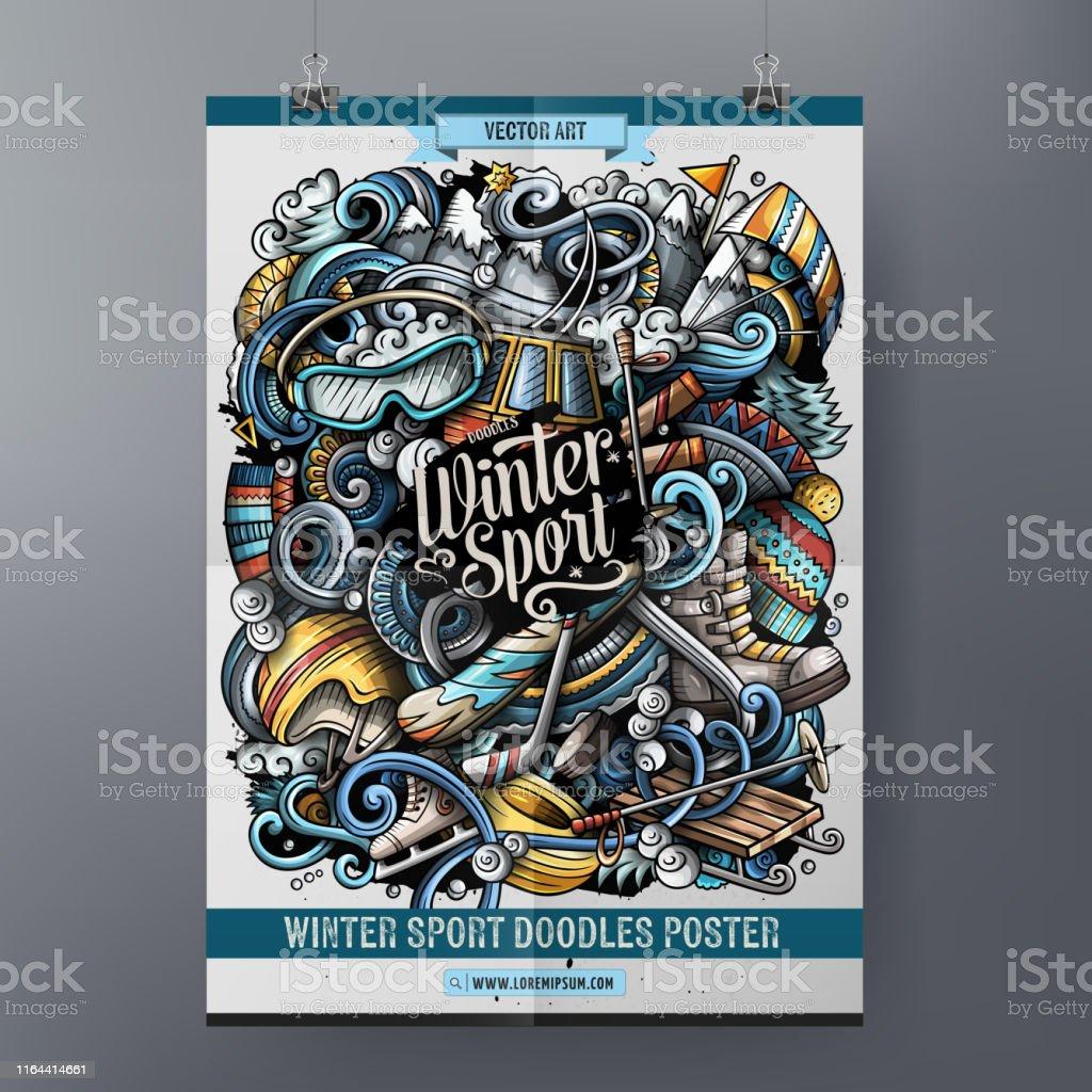 Winter sport doodles poster design. Ski resort sign board template....