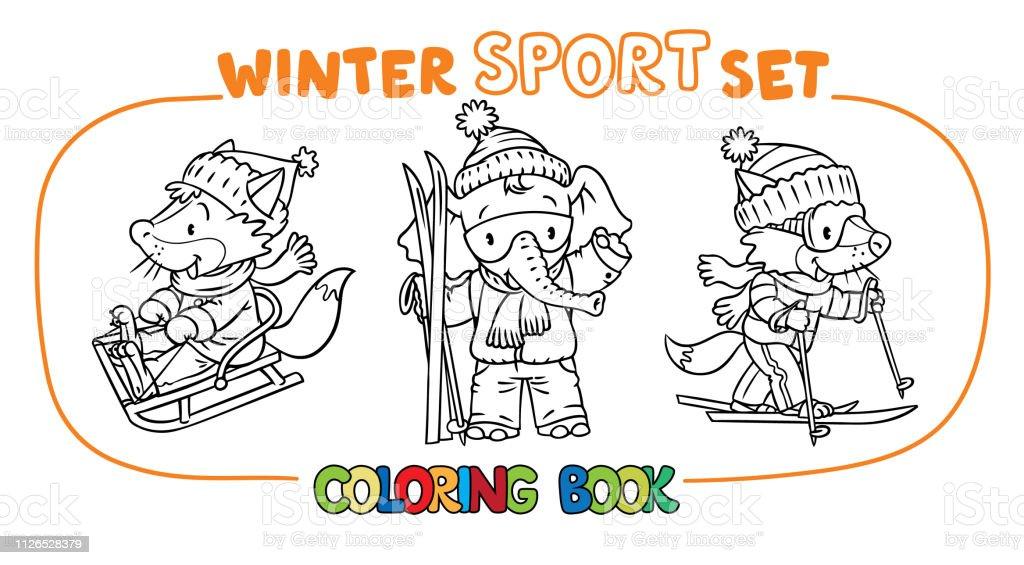 Kleurplaten Wintersport.Wintersport Grappige Dieren Kleurplaten Boek Verzameling