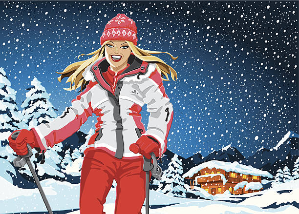 Winter Sport Girl Landscape Snowing Vector Illustration of a beautiful Winter Sport Girl in front of a Mountain Winter Landscape with a Shelter. It's snowing. For easy editing every piece is on a separate layer: Woman, Snow, Landscape, Sky. The colors in the .eps-file are ready for print (CMYK). Included files: EPS (v8) and Hi-Res JPG. winter sport stock illustrations