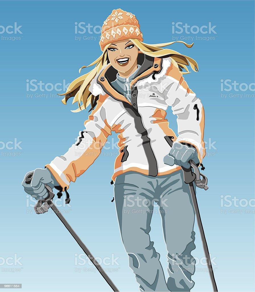 Winter Sport Girl - Royaltyfri Blont hår vektorgrafik