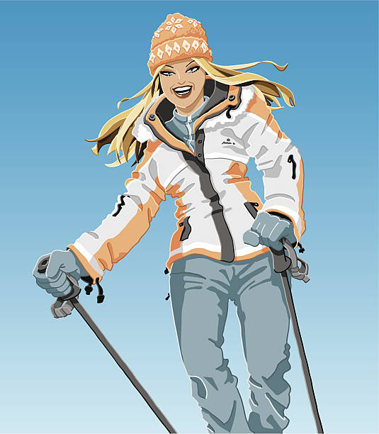 Winter Sport Girl Vector Illustration of a beautiful girl, who is wearing winter sport clothing. She is holding ski poles. The background is on a separate layer, so you can use the illustration on your own background. The colors in the .eps-file are ready for print (CMYK). Included files: EPS (v8) and Hi-Res JPG. winter sport stock illustrations