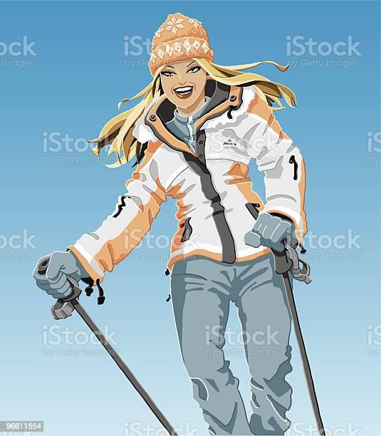 Winter Sport Girl-vektorgrafik och fler bilder på Blont hår